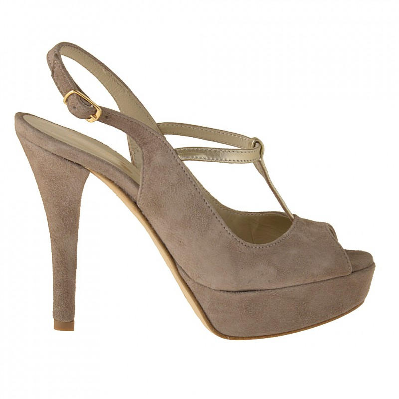Woman's platform sandal with t-strap in sand-colored suede and platinum leather heel 11 - Available sizes:  42