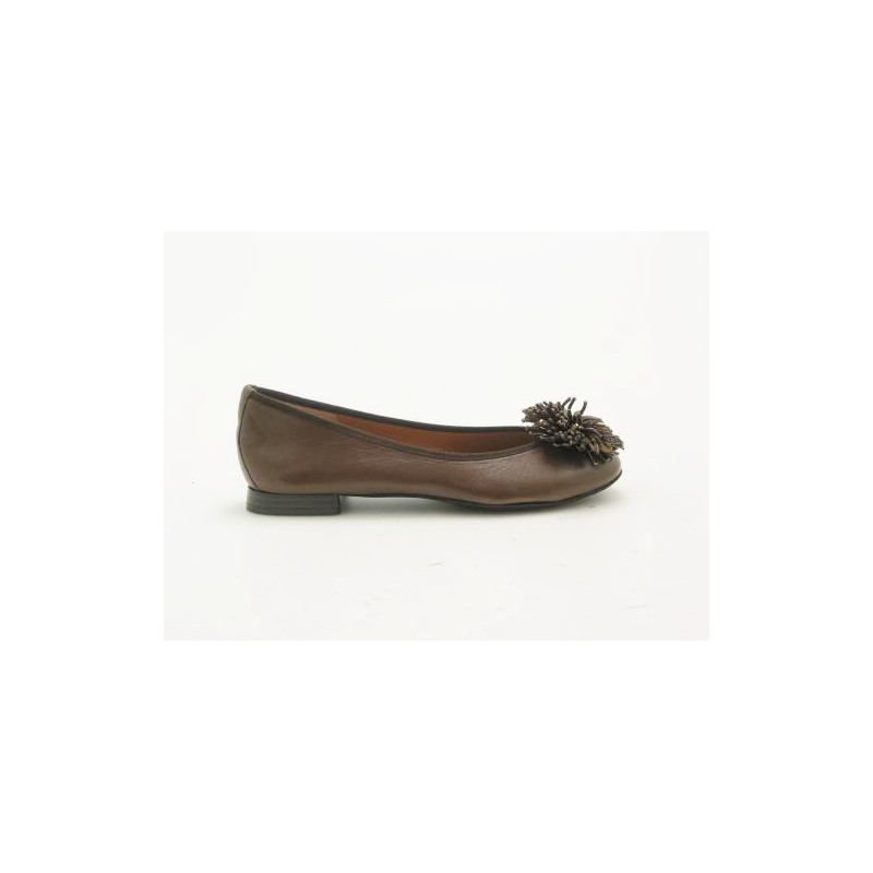 Ballerina with flower in brown leather heel 1 - Available sizes:  31