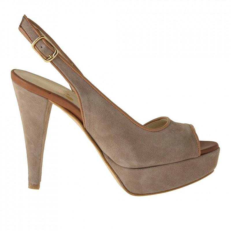 Sandalo da donna con plateau in camoscio sabbia e pelle color cuoio tacco 11 - Misure disponibili: 42