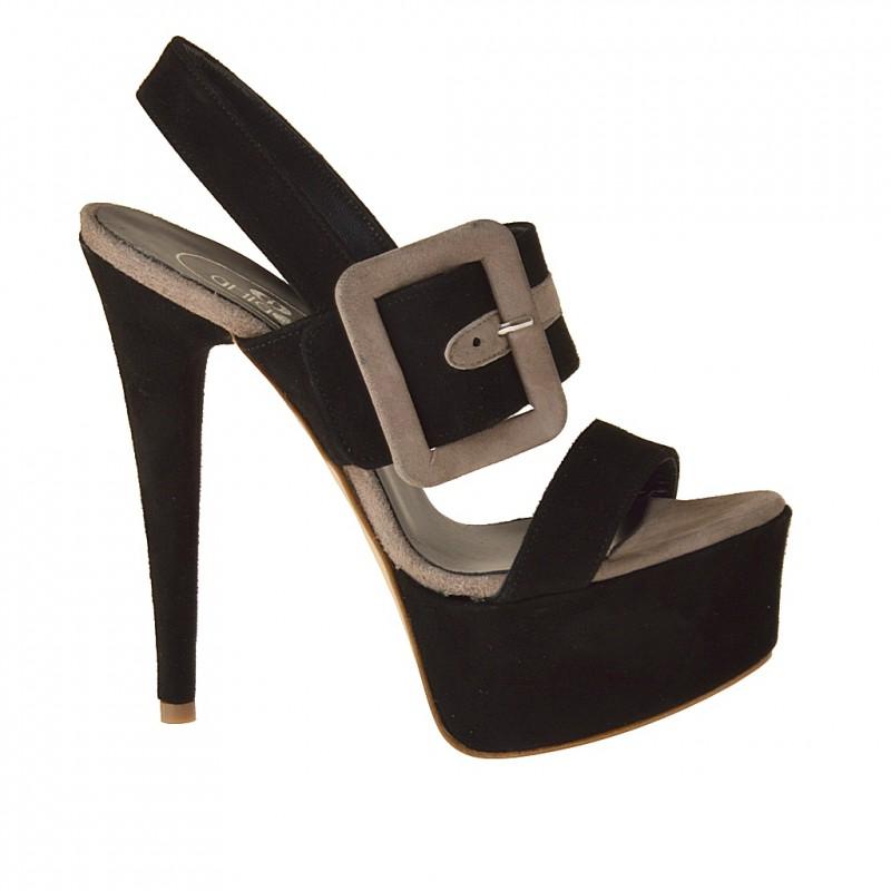 Plateforme sandale avec boucle en daim noir et sable - Pointures disponibles:  42