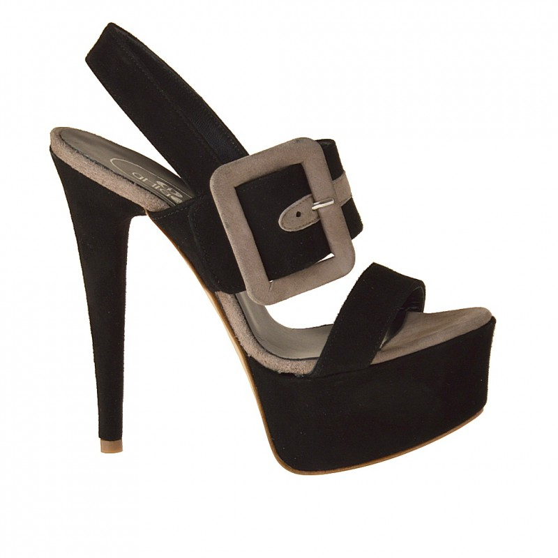 Platform sandal with buckle in black and sand suede - Available sizes:  42
