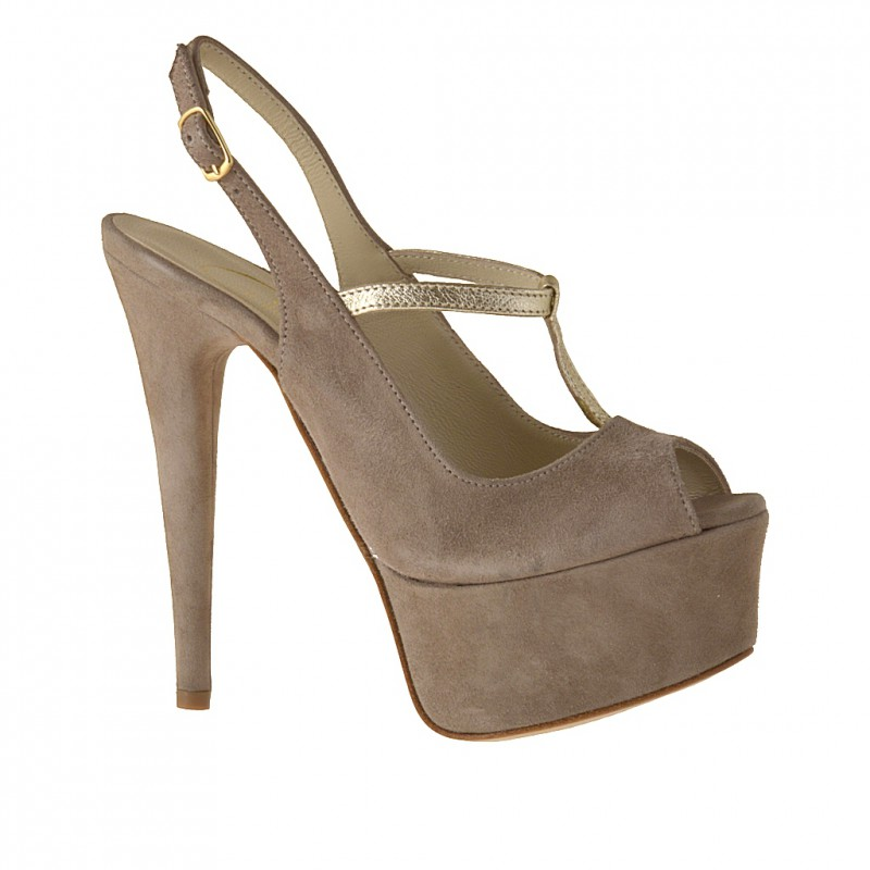 Woman's platform sandal with t-strap in sand-colored suede and platinum leather heel 14 - Available sizes:  42