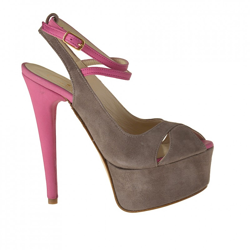 Platform sandal with crossed strap in sand suede and fuchsia leather - Available sizes:  42