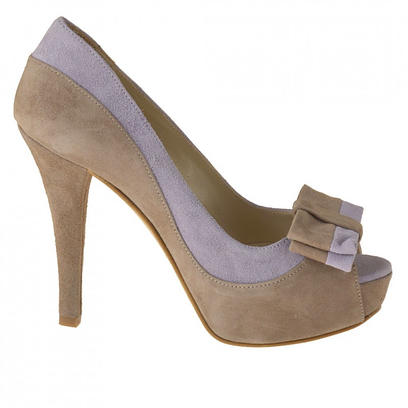 Open toe platform pump with bow in sand and wisteria suede - Available sizes:  42