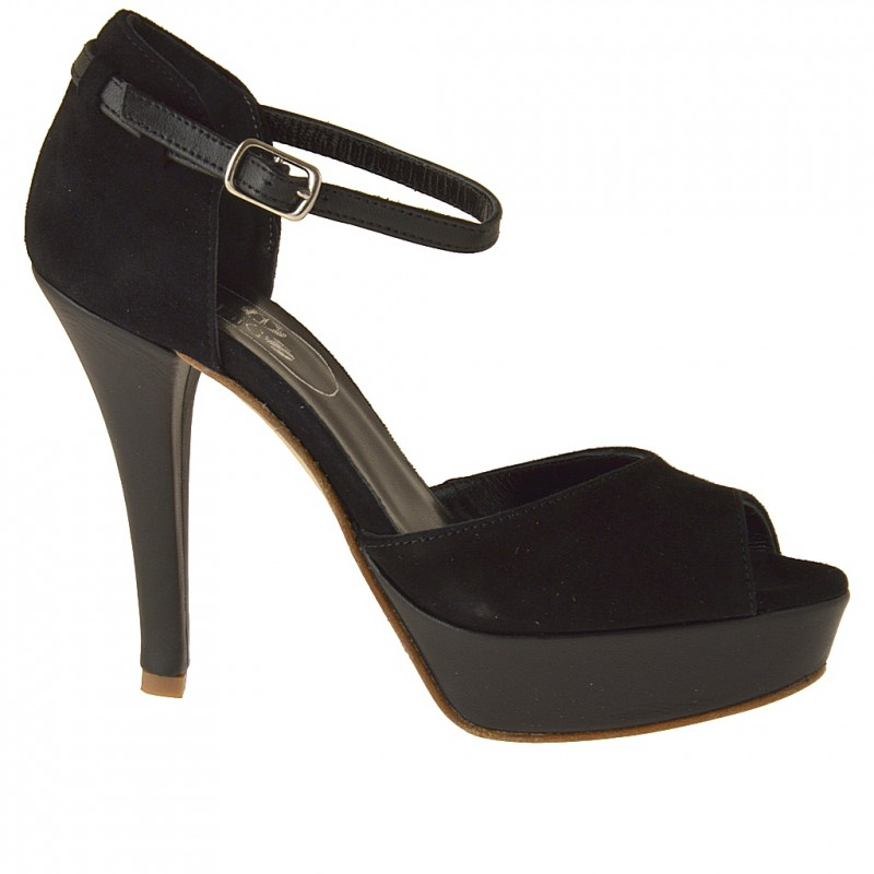 Open platform pump with anklestrap in black leather and suede - Available sizes: 42