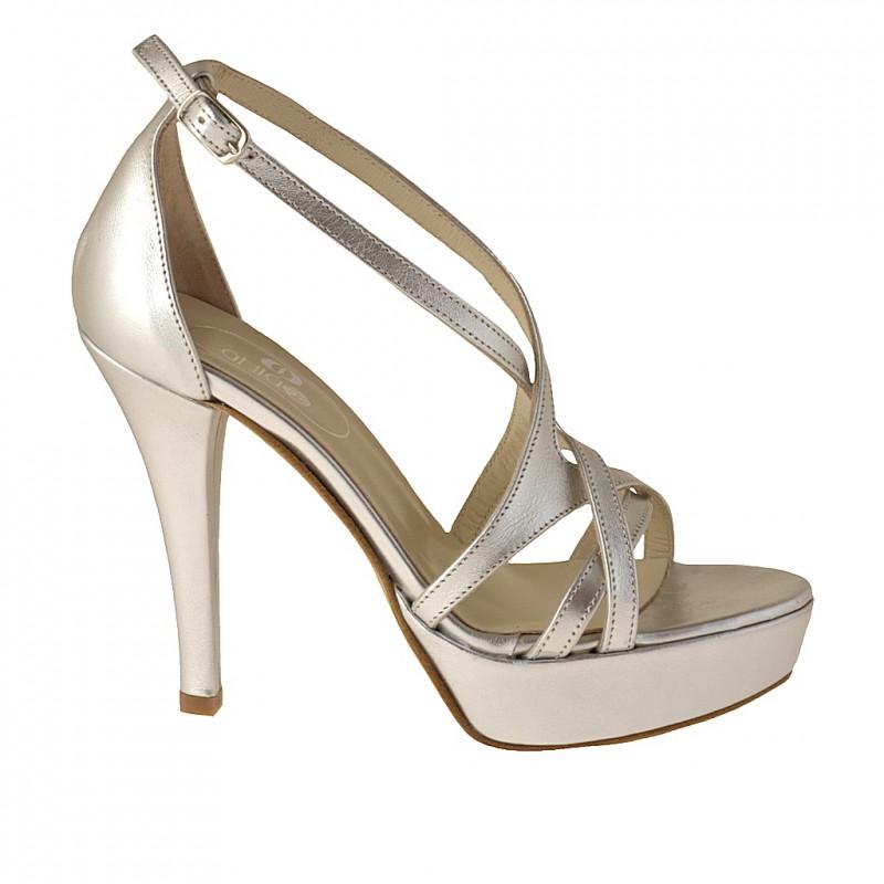 Zapato de salon de plataforma abierto con tiras en piel de color plateado - Tallas disponibles:  42