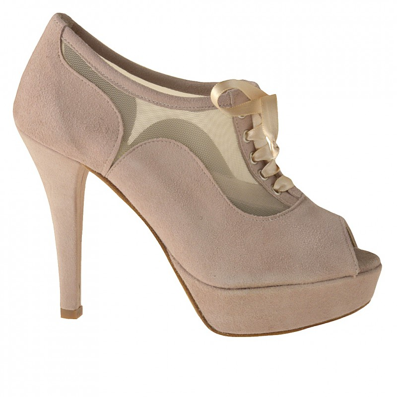 Open toe platform pump with laces in beige suede and net - Available sizes:  42