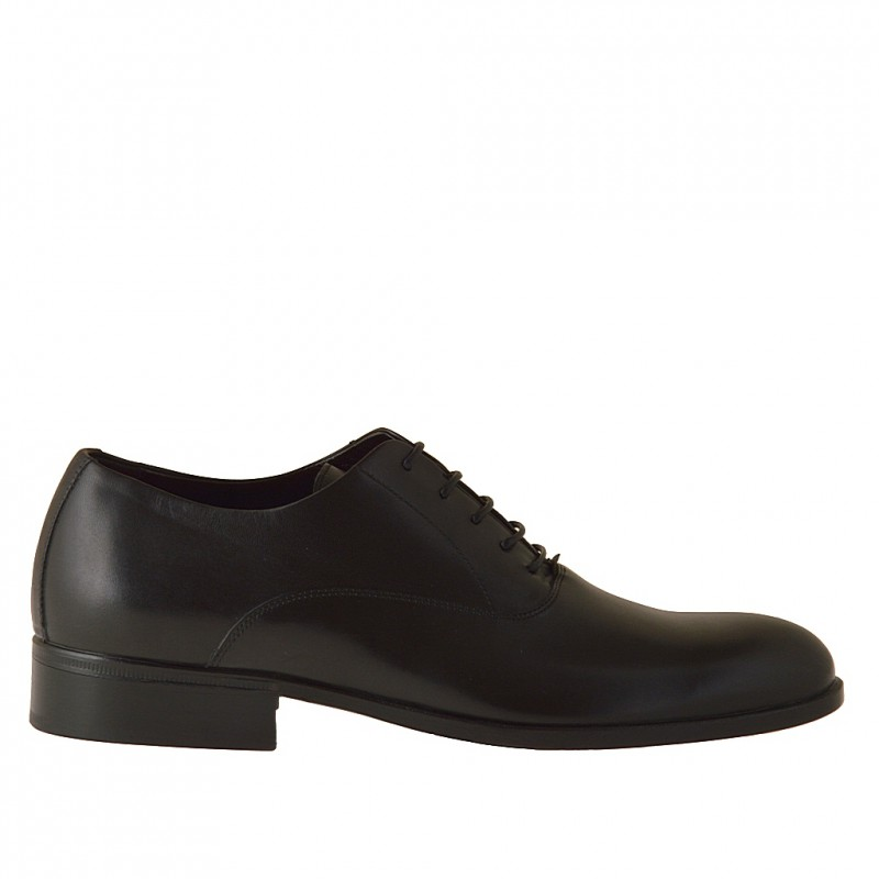 Men's laced Oxford shoe in black leather - Available sizes:  51