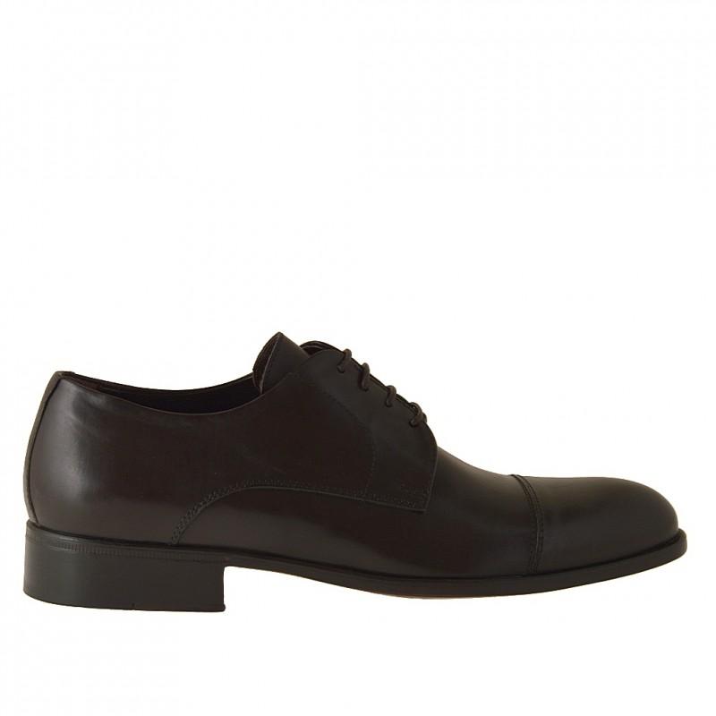 Chaussure derby élégant à lacets et bout droit pour hommes en cuir marron foncé - Pointures disponibles:  36, 50