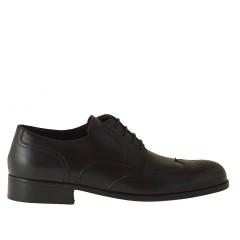 Scarpa derby da uomo elegante e stringata con decorazioni in pelle nera - Misure disponibili: 36