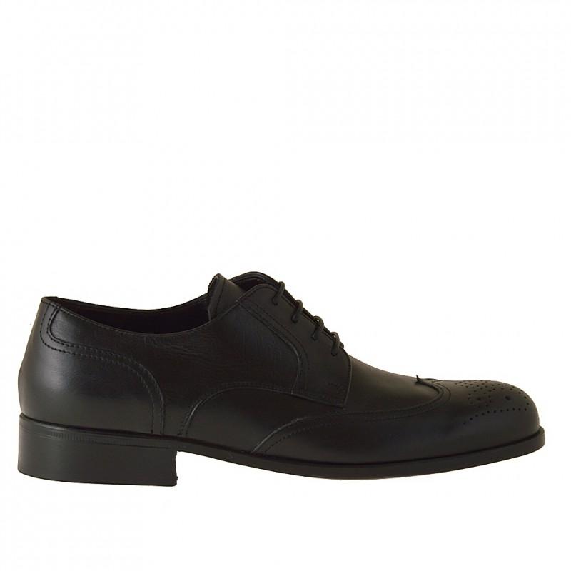 Chaussure pour hommes derby à lacets avec bout Brogue en cuir noir - Pointures disponibles:  36
