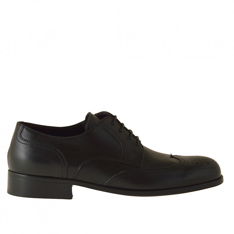 Men's derby shoe with laces and Brogue decorations in black leather - Available sizes:  36