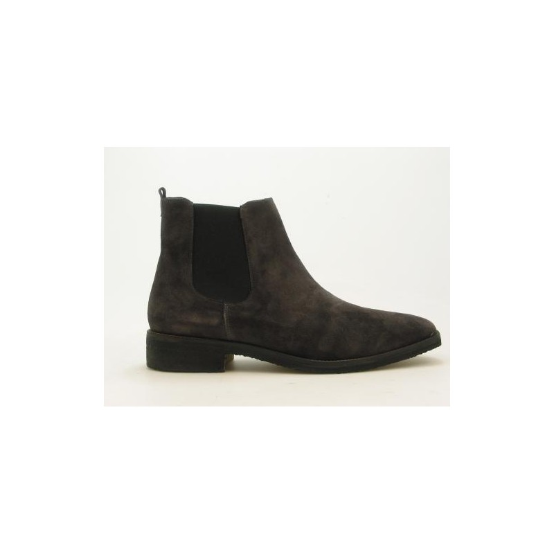 Anklehigh boot with 2 elastics in grey suedeleather - Available sizes: 51