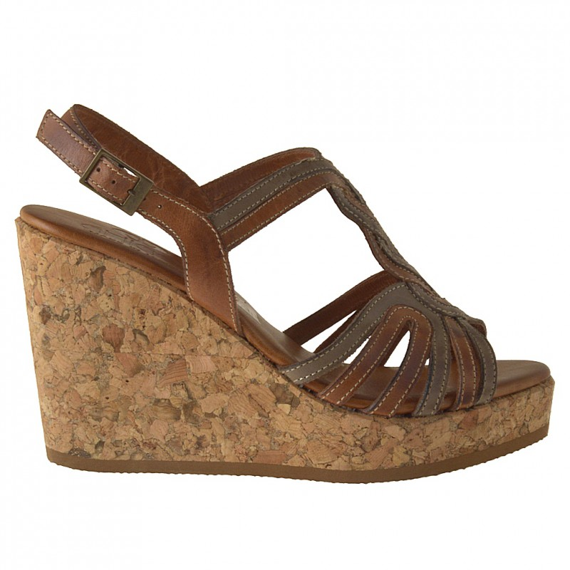 Strips sandal with cork wedge in tan and taupe leather - Available sizes:  42