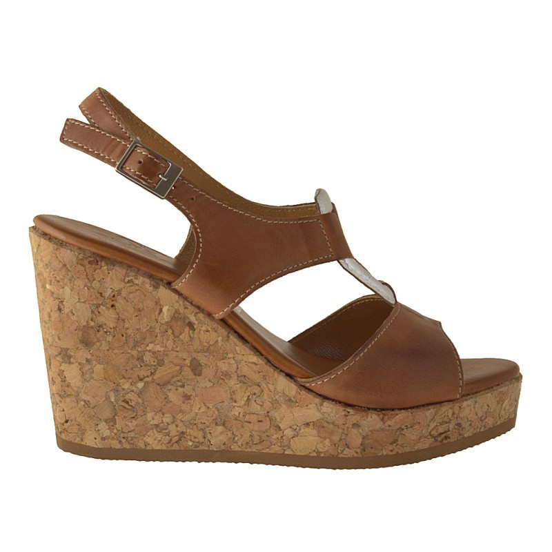 Cork wedge sandal in tan leather - Available sizes: 42