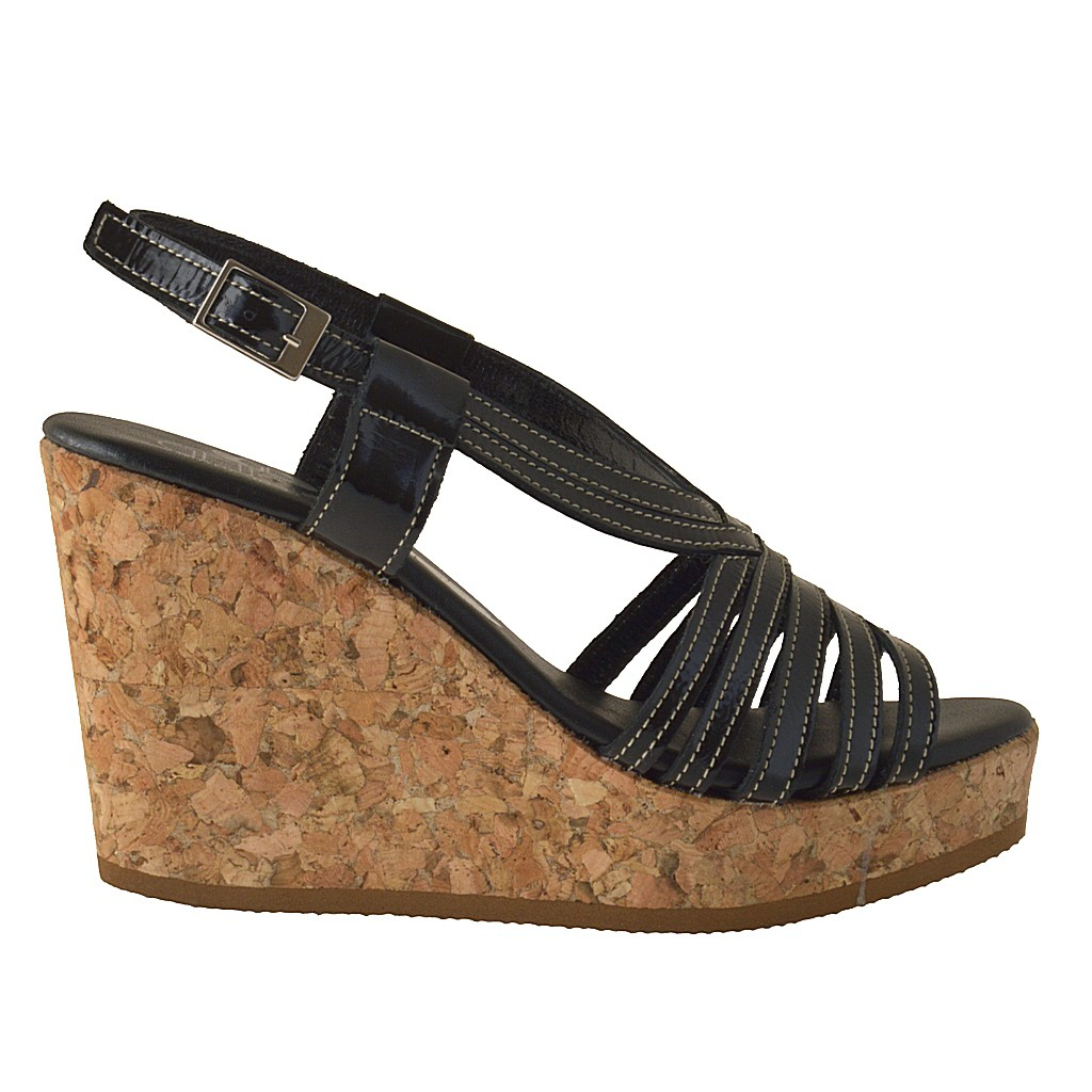 small or large cork wedge sandal in black patent leather