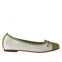 Ballerina da donna con fiocco in pelle bianca e verde tacco 1 - Misure disponibili: 32