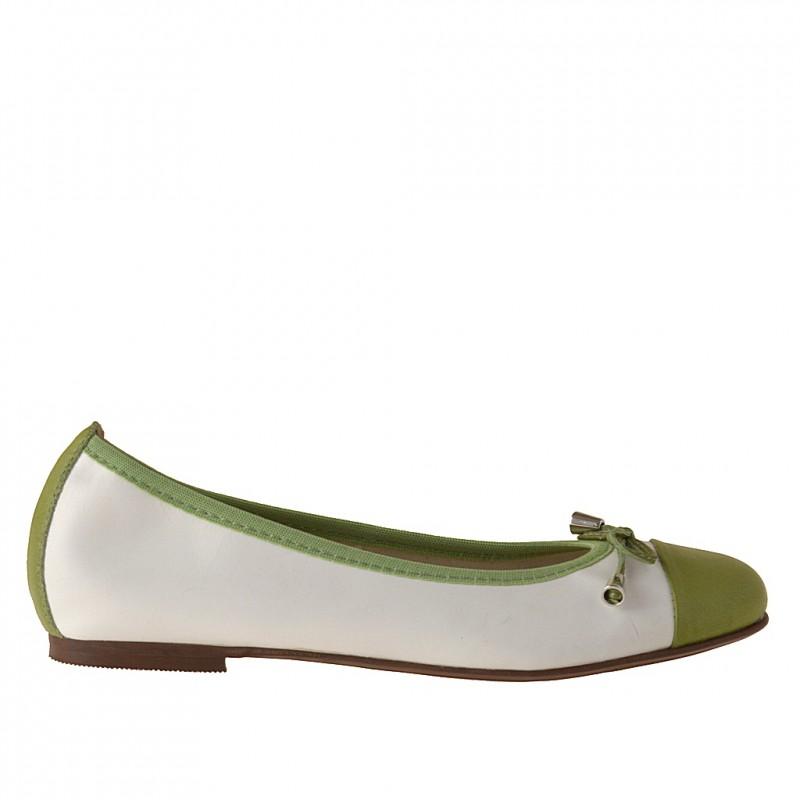 Bailarina para mujer con moño en piel blanca y verde tacon 1 - Tallas disponibles:  32