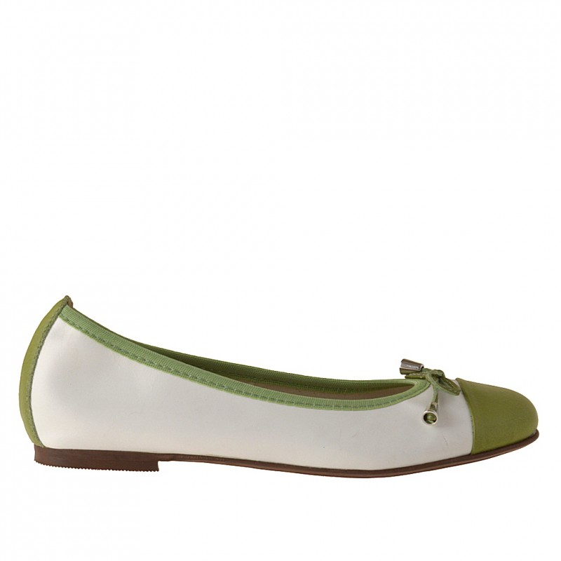 Woman's ballerina with bow in white and green leather heel 1 - Available sizes:  32