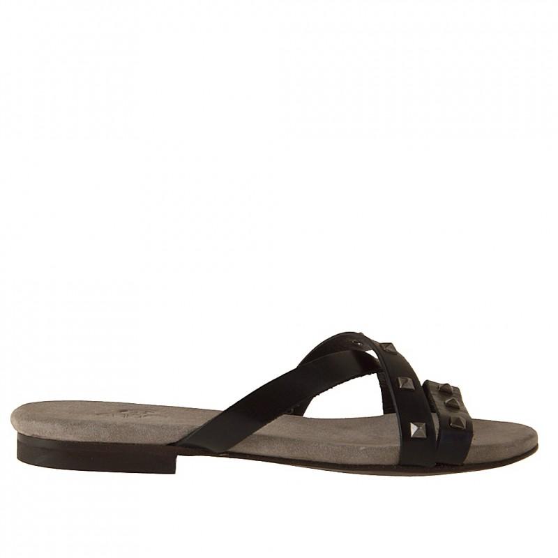 Mule ouvert avec courroie en cuir noir talon 1 - Pointures disponibles:  32