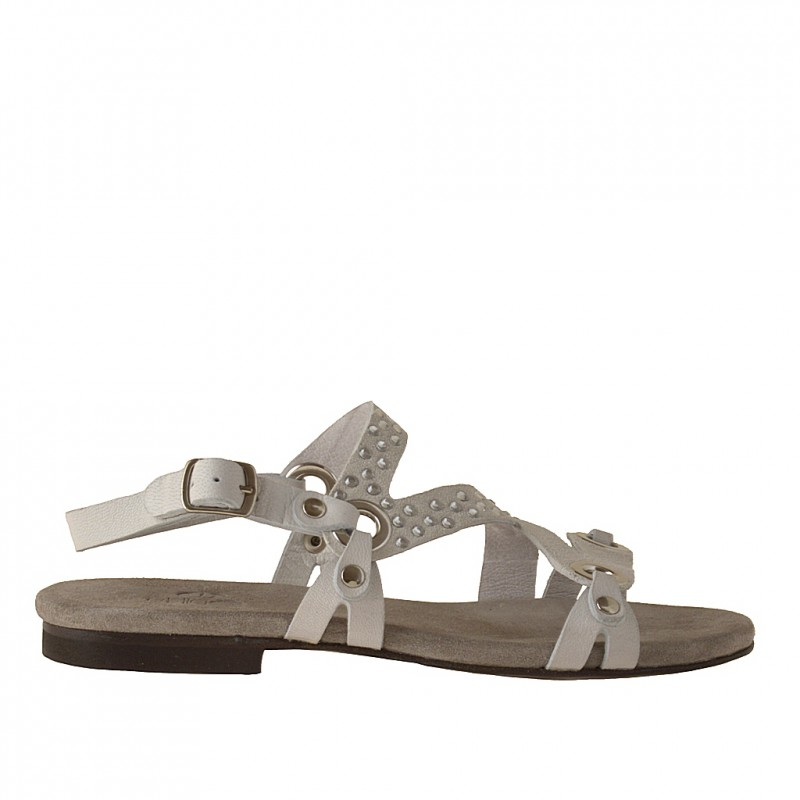 Bandes sandale en cuir et daim blanc - Pointures disponibles:  32