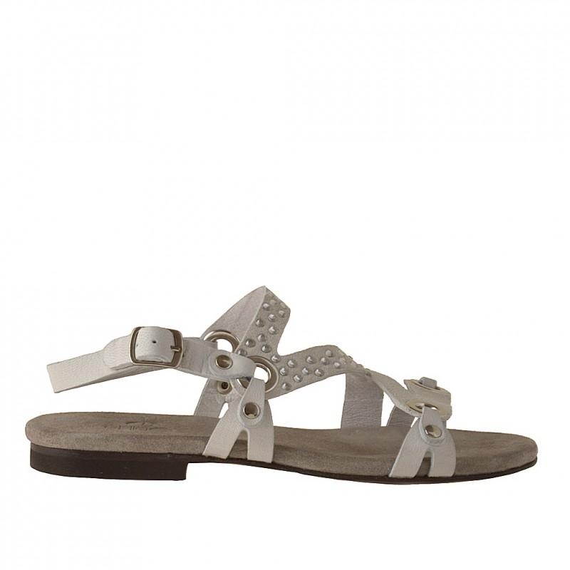 Sandale avec strass pour femmes en cuir et daim blanc talon 1 - Pointures disponibles:  32