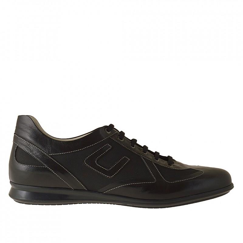 Chaussure à lacets sportif pour hommes en cuir et tissu noir - Pointures disponibles:  46