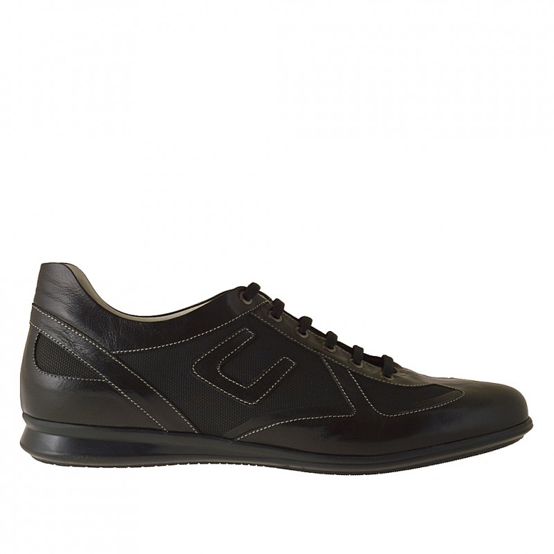 Men's casual laced shoe in black leather and fabric - Available sizes:  46