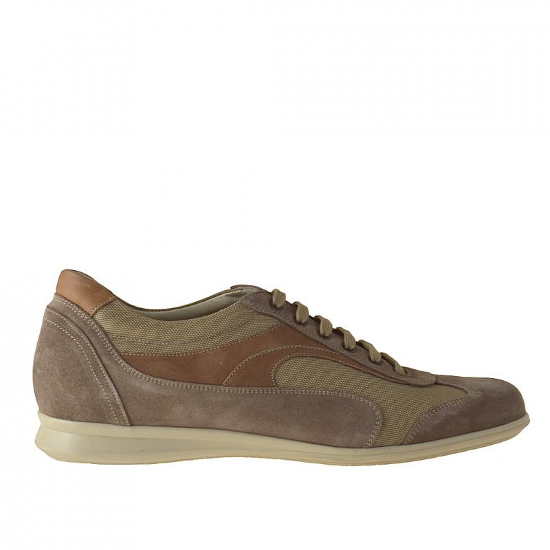 Men's laced casual shoe grey and beige suede and sand-colored leather and fabric - Available sizes:  46