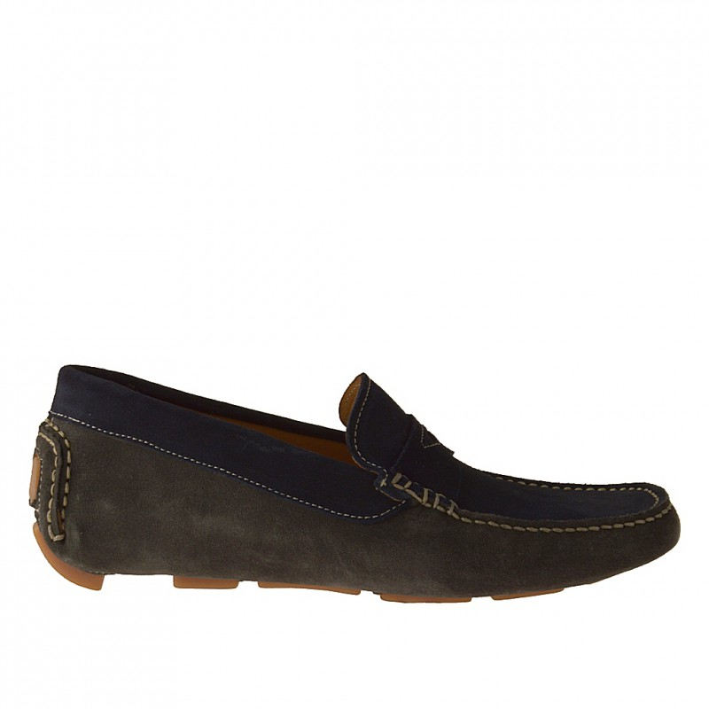 Sport moccasi in dark blue and grey suede - Available sizes:  51