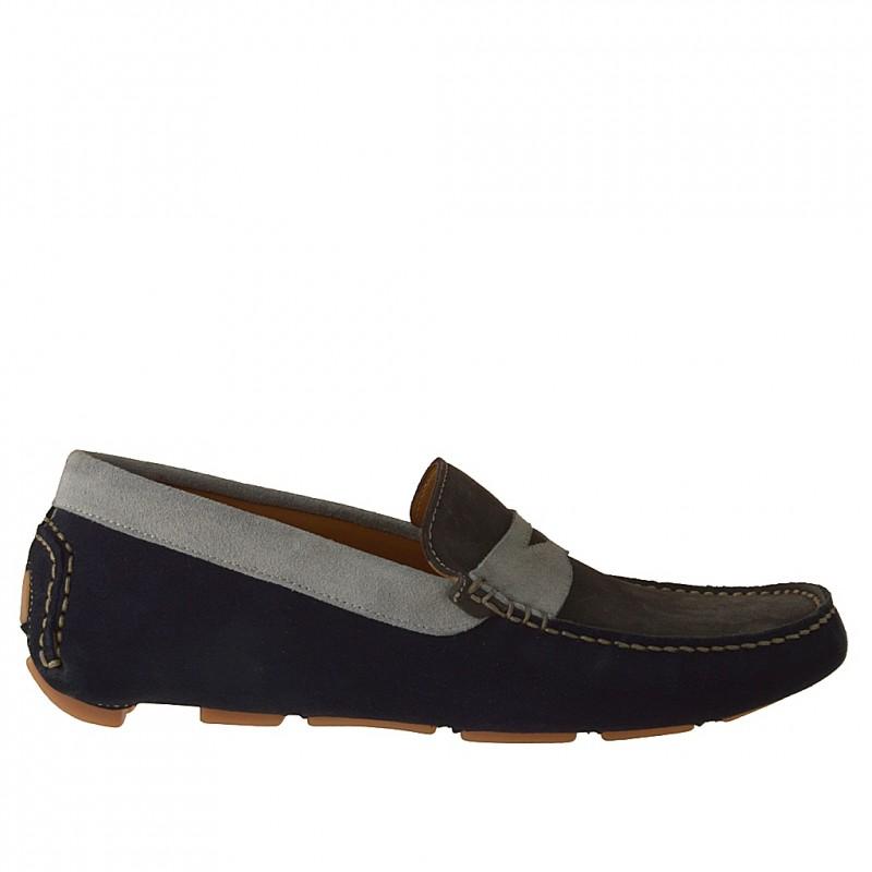 Mocassin pour hommes en daim gris, bleu foncé et bleu clair - Pointures disponibles:  36, 37