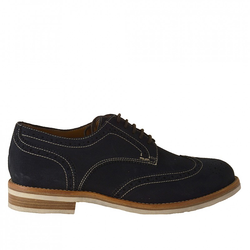 Casual laceup shoe in dark blue suede - Available sizes: 52