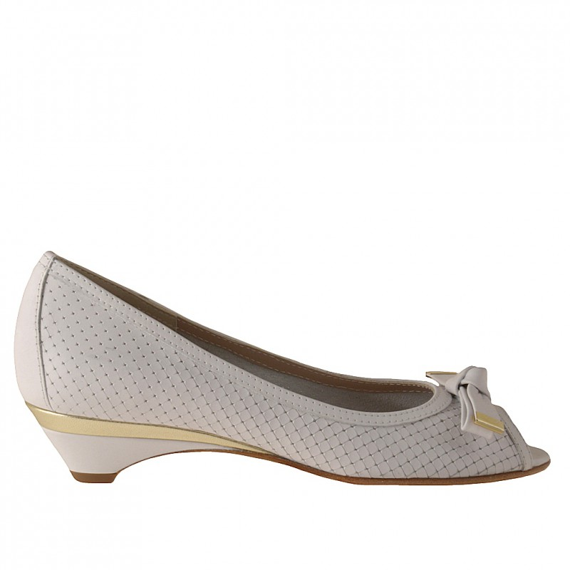 Open toe pump with bow in white and platinum leather heel 3 - Available sizes:  31