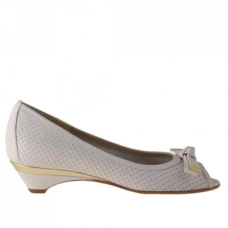 Zapato de salon abieto en punta con moño en piel de color blanco y platino tacon 3 - Tallas disponibles:  31