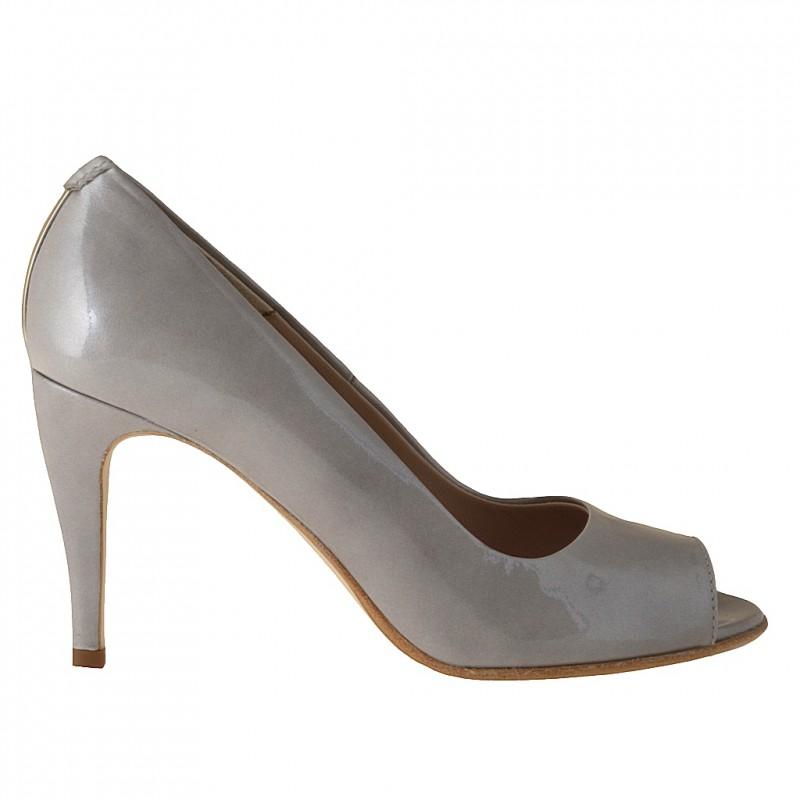 Zapato de salon open toe en charol de color gris - Tallas disponibles:  42