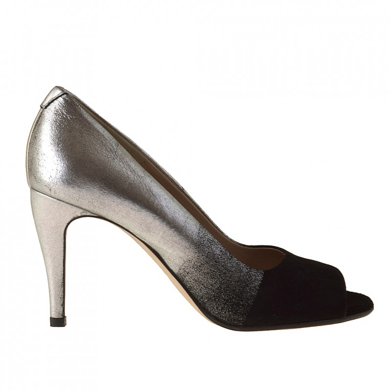 Woman's open toe pump in silver leather and black suede heel 9 - Available sizes:  31, 32