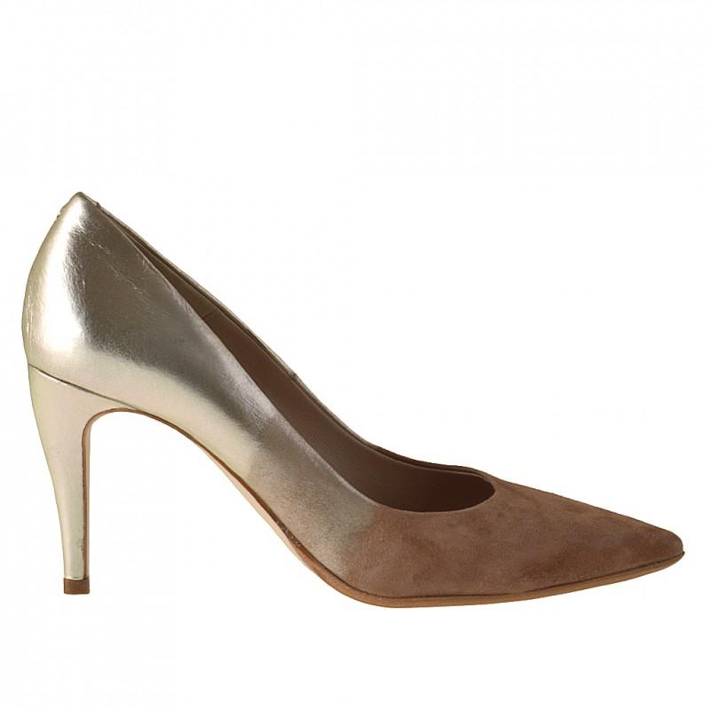 Escarpin en daim sable et cuir platine - Pointures disponibles:  31