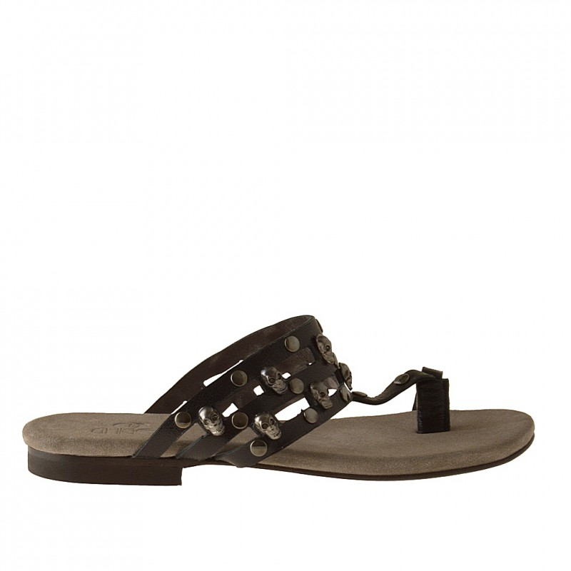 Flip-flop mule with studs in black leather heel 1 - Available sizes:  32