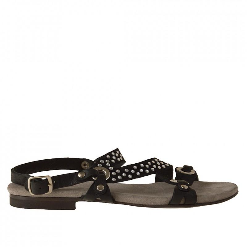 Sandalo listini in pelle+camoscio nero -
