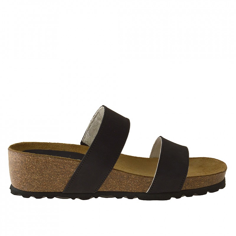 Open sabot with 2 bands and cork wedge in black nabuk leather - Available sizes:  42