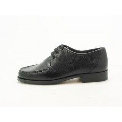 Laceup mocassin in black leather - Available sizes:  36, 52