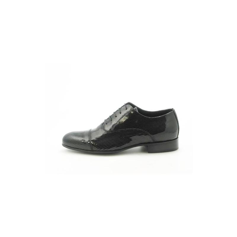 Chaussure richelieu à lacets et bout droit pour hommes en cuir verni noir - Pointures disponibles:  36