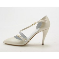 Woman's open pumps with straps  in pearly ivory leather heel 9 - Available sizes:  42, 43, 44, 45, 46