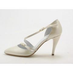 Zapato abierto para mujer con cinturones en piel perlada color marfil tacon 9 - Tallas disponibles:  42, 43, 44, 46