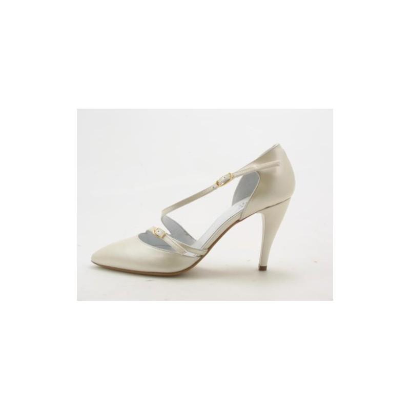 Escarpin ouvert pour femmes avec courroies en cuir ivoire perlé talon 9 - Pointures disponibles:  42, 43, 44, 45, 46