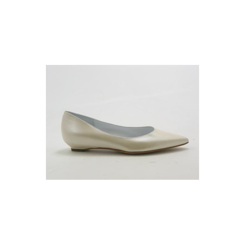 Pointy pump in pearly ivory leather heel 2 - Available sizes:  31