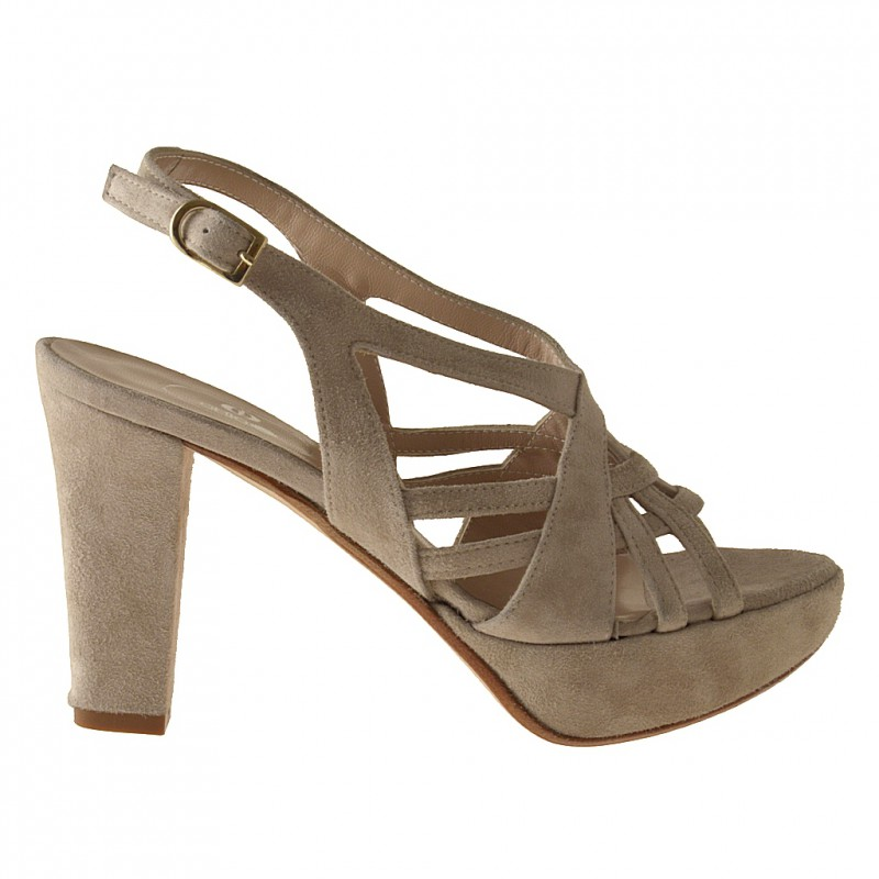 Woman's platform sandal in sand beige suede heel 9 - Available sizes:  42
