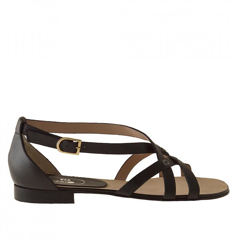 Zapato abierto con cinturon en piel de color negro tacon 1 - Tallas disponibles:  32