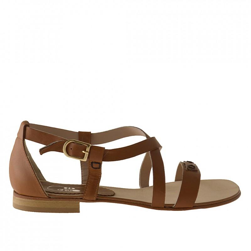 Zapato abierto con cinturon en piel de color cuero tacon 1 - Tallas disponibles:  31