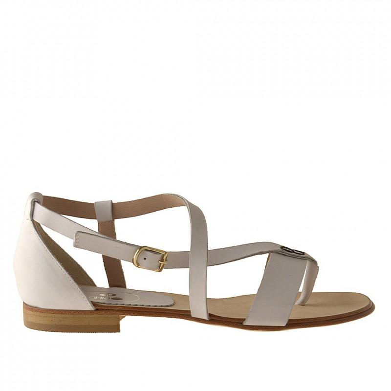 Chaussure ouvert entredoigt avec courroie en cuir blanc talon 1 - Pointures disponibles:  31